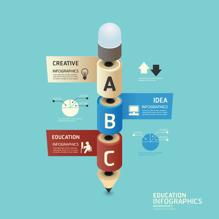 head tag: isometric colorful pencil infographicd Modern Design vector. Illustration