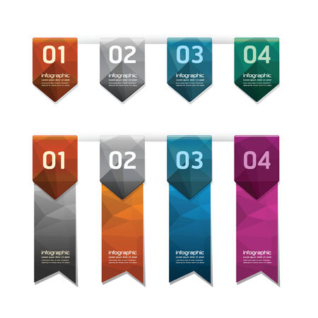 Geometric colorful Modern Design button / can be used for infographics / numbered banners  Vector
