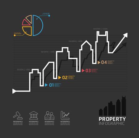 in city: plantilla inmobiliaria estilo de línea de negocios diagrama de infografía vector