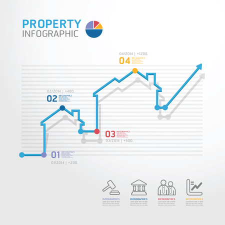 property: Property business diagram line style  template for infographics vector