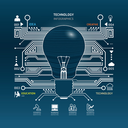 Creative light bulb abstract circuit technology infographic.vector Vector