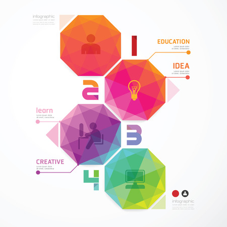 numbered: Geometrico colorato Design moderno pu� essere utilizzato per infografica numerati banner