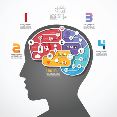 infographic Template brain social line link concept vector illustration 向量圖像