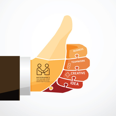 ok hand: fingers shape good ok  jigsaw banner   concept infographic Template vector illustration