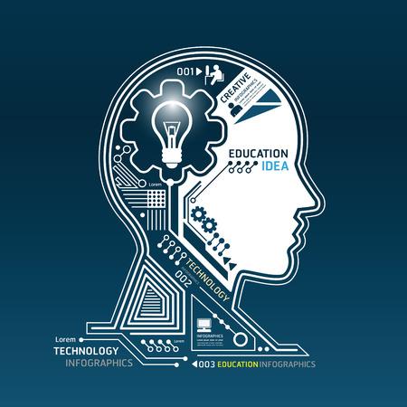 창조적 인 머리 추상 회로 기술 인포 그래픽 벡터