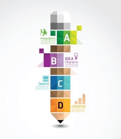 インフォ グラフィック テンプレート鉛筆幾何学的なバナーの概念ベクトル イラスト