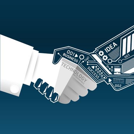 stretta di mano: Stretta di mano creativa tecnologia di circuito astratto infografica vector