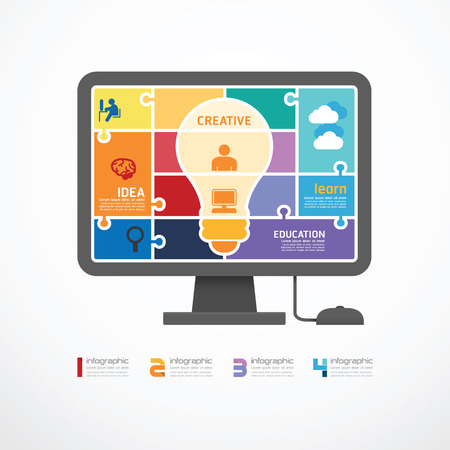 infographic Template computer jigsaw banner   concept vector illustration Vector