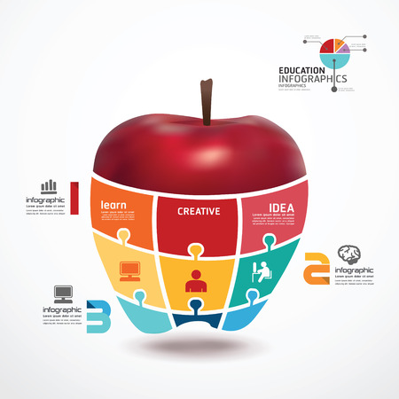 infographic Template with apple jigsaw banner   concept vector illustration