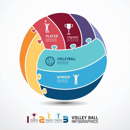 infographic Template with volleyball jigsaw banner   concept vector illustration Vector
