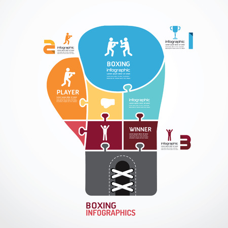 boxing glove: infographic Template boxing jigsaw banner   concept vector illustration Illustration