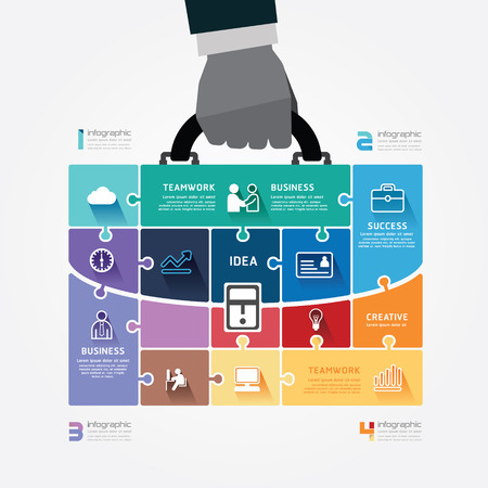 handshake: infographic Template with businessman hand hold business bag jigsaw banner   concept vector illustration