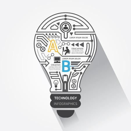 technology: Bóng đèn sáng tạo công nghệ mạch trừu tượng vector Infographic Hình minh hoạ