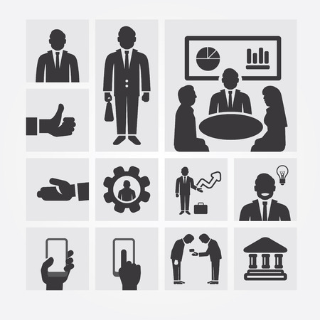 job functions: Business icons management and human resources. Flat design concept.