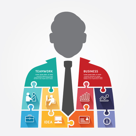 businessman infographic Template jigsaw banner   concept