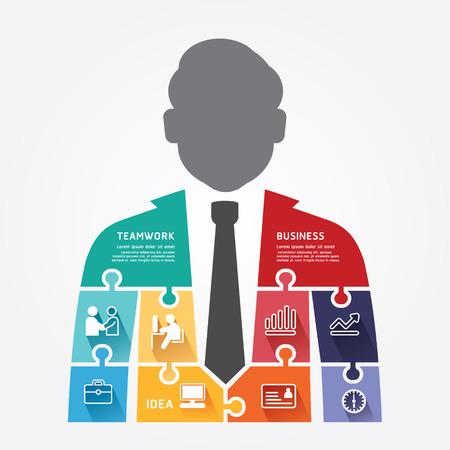 businessman infographic Template jigsaw banner   concept