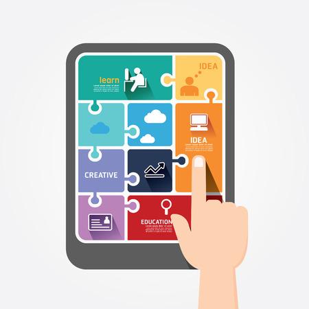 educacion: bandera rompecabezas Plantilla tableta dedo infografía empuje concepto de ilustración vectorial