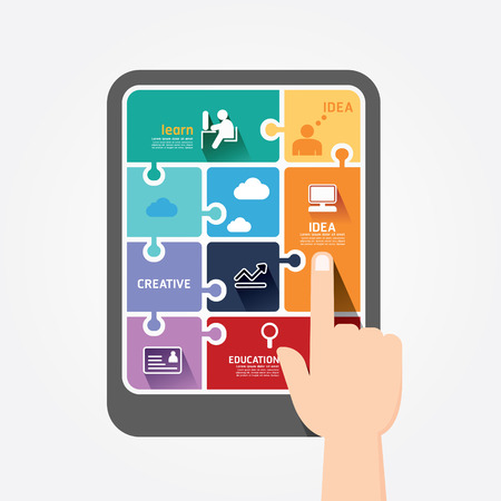 app icon: infographic finger push tablet Template jigsaw banner   concept vector illustration
