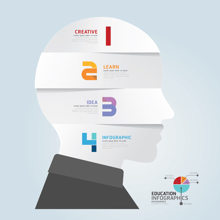 infographic Template with Head paper cut banner   concept vector illustration