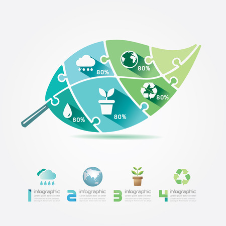 Green Leaves Design Elements Ecology Infographic Jigsaw Concept Vector Illustration  Vector