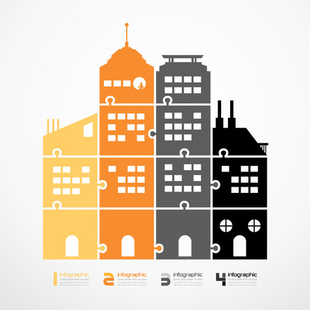 infographic Template city tower jigsaw banner   concept vector illustration Vector