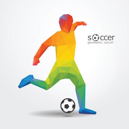 soccer football kick striker player geometric design colour from brazil flag vector