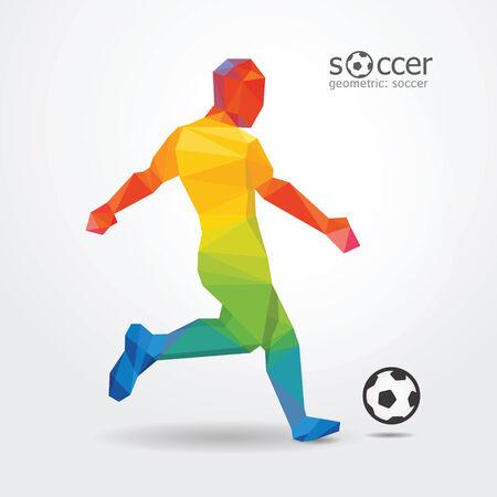 patada: impulsar el fútbol soccer player delantero diseño geométrico de colores de la bandera de brasil vector