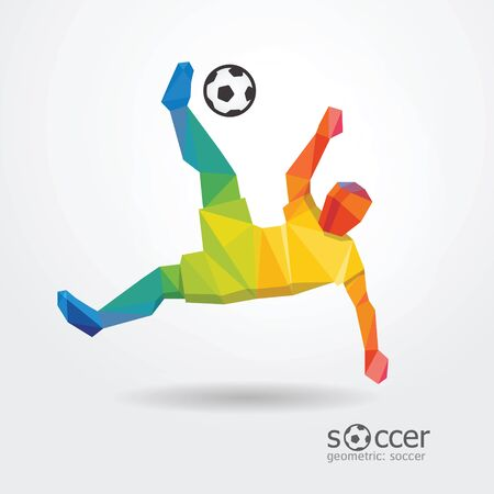 Striker: piłka nożna kopnięcie piłki nożnej napastnik gracz geometryczny wzór kolor z Brazylii flag wektor