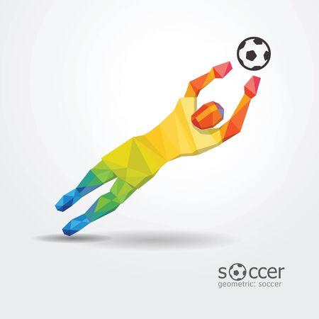 portero jugador de fútbol de fútbol diseño geométrico de colores de la bandera de brasil vector