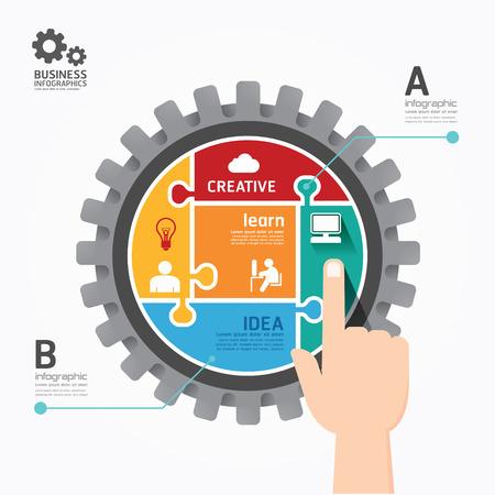 Gears Infographics push Template jigsaw banner.concept vector illustration Vector