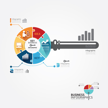 leadership key: Infographic Template with key business jigsaw banner   concept vector illustration Illustration