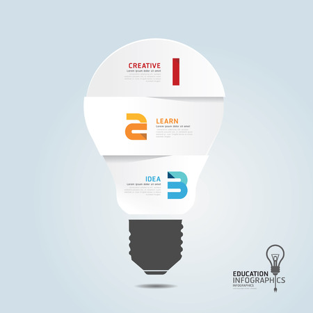 infographic Template with Light bulbs paper cut banner   concept vector illustration Vector