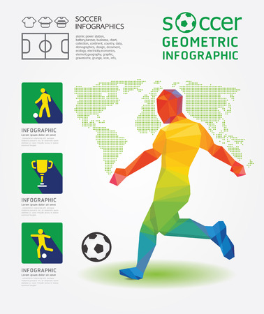 Soccer Infographic Geometric Concept Design Colour Illustration Vector  Vector