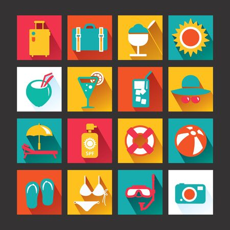 Summer Icons Set design  Icons for web design and infographic Vector illustration  Illustration