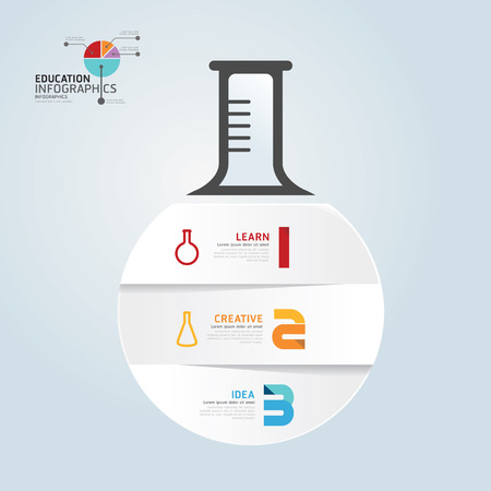 laboratory label: infographic Template with Test-Tube paper cut banner   concept vector illustration