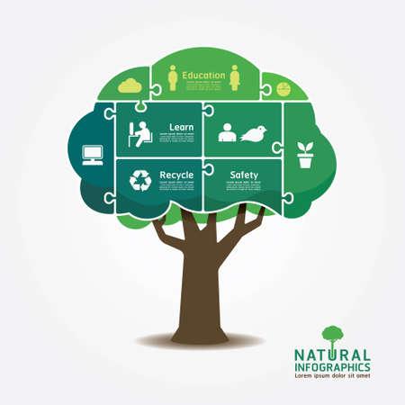 educación: Infografía árbol verde entorno bandera rompecabezas concepto de ilustración vectorial Vectores