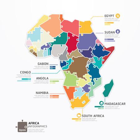 mapa de africa: África Infografía Mapa Plantilla concepto rompecabezas bandera Vectores