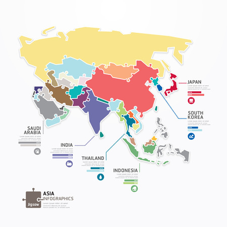 Asia Infographic Map Template jigsaw concept banner  Illustration
