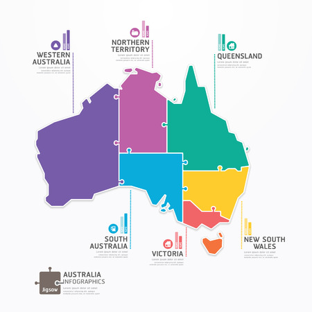 australia: Australia Map Infographic Template jigsaw concept banner  vector illustration