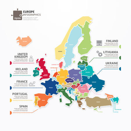 Europe Map Infographic Template jigsaw concept banner  vector illustration Vector