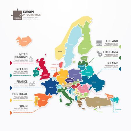 Mapa de Europa Plantilla Infografía concepto de ilustración de rompecabezas vector de la bandera Vectores