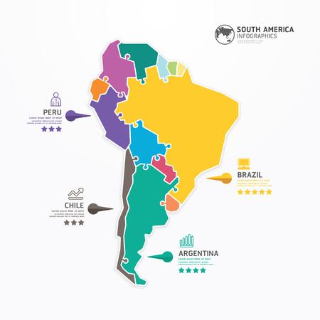 south america: Am�rica del Sur Mapa Plantilla Infograf�a concepto de ilustraci�n de rompecabezas vector de la bandera