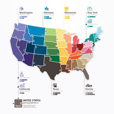 mapa: Ilustración del concepto de rompecabezas Estados unidos Mapa Plantilla Infografía vector de la bandera