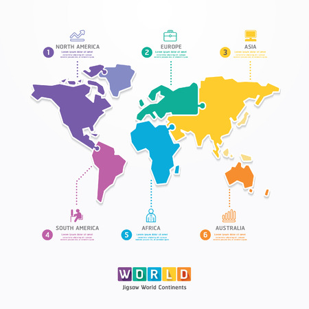 World Infographic Template jigsaw concept banner  vector illustration
