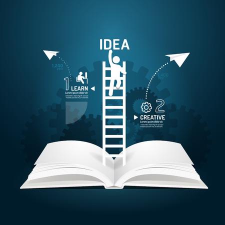 Infografik Aufstiegsleiter Buch Diagramm kreative Papierschnitt-Stil-Vorlage Konzept. Illustration