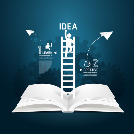Infographic climbing ladder book diagram creative paper cut style  template concept.