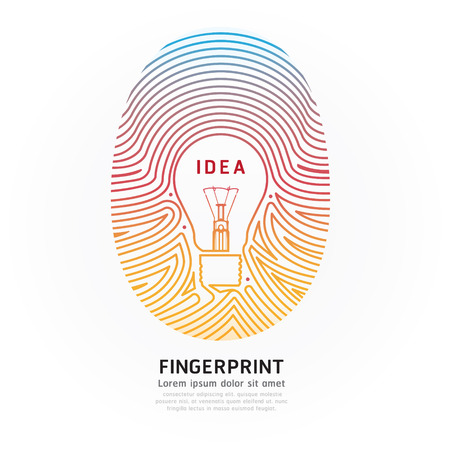 Fingerprint lightbulb color  Illustration