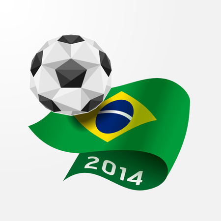 Soccer ball Geometric on Flag of Brazil 2014. Vector