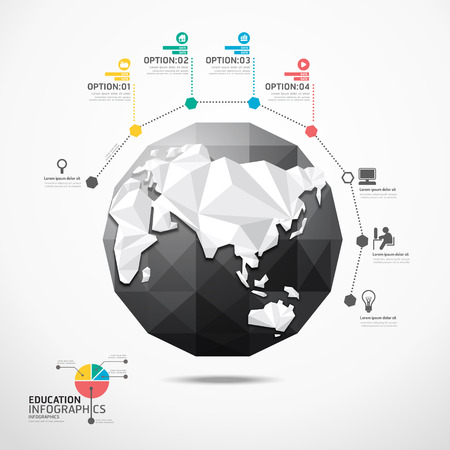concept design: globe world map illustration infographics geometric concept design