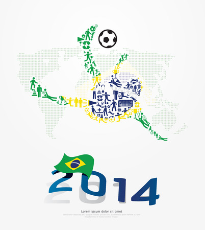 Elements Small Icons Soccer Player Shape on Flag of Brazil 2014. Vector